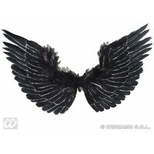 Black Feathered Wings With Silver Glitter for Halloween Angel of Death Fancy Dre