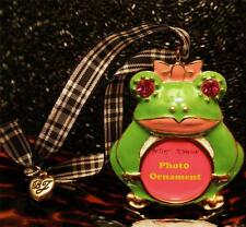 Betsey Johnson RARE Hanging FROG Pink Bow PICTURE FRAME Crystal ORNAMENT LTD NWT