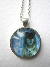 Gorgeous Grey Wolf Design Silver Pendant Glass Necklace New in Gift Bag