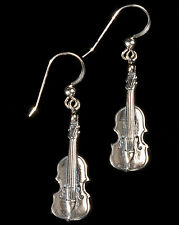 Sterling Silver Violin Earrings