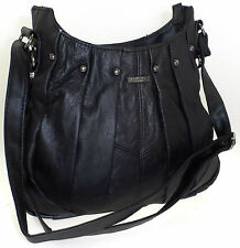 Ladies Womens Lorenz Cowhide Real Leather Studded Hand Pleated Across Body Bag