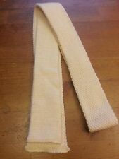 """Vintage, California Knit, 100% Wool, Ivory, Square End, Skinny, Bow Tie (47"""")"""