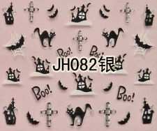 Halloween Black Cats Castle Bats BOO Cross Silver Stud 3D Nail Art Sticker Decal