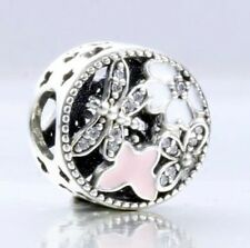 SPRING w PINK BUTTERFLIES & DRAGONFLIES  925 Sterling Silver European Charm Bead