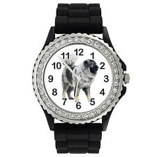 Caucasian Ovcharka Dog Crystal Rhinestone Mens Ladies Silicone Wristwatch SG206P