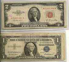 1953-63 $2 Red Seal & 1935-57 $1 SC Lot of 2, bottom of bbl bad/ugly, $3 face