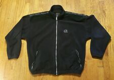 "Marmot fleece full zip jacket XL black poly ""suede"" LS SPELL OUT VTG made in USA"
