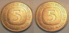 5 DM Probe J.415 Kopplung zweier Wertseitenstempel Kupfer-Nickel 9,4g. prfr