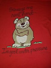 Vintage Mens Medium Teddy Bear T-Shirt M Red Squeeze Hugs Red Thin Cute