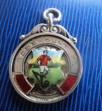 Attractive Sterling Silver & Enamel Football Fob Medal h/m 1934 Rosemount F.C.