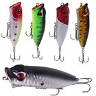 5PCS Lot Topwater Popper Minnow Fishing Lures Hard Hook Bait Tackle 7CM