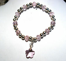 'AAA' GRADE PINK CRYSTAL GLASS BEADED STRETCH FLOWER CLIP CHARM BRACELET