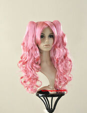 SWEET CURLY WAVY PINK PONYTAILS COSTUME COSPLAY WIG NEW