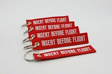 INSERT BEFORE FLIGHT KEYCHAINS - RED/WHITE LETTERS - CAR KEY CHAIN TAGS LUGGAGE