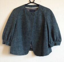 Green Hemp Wool Mix Box Jacket Cropped Size UK 8 Banana Republic Great Condition