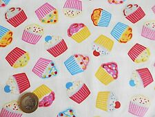 FAT QUARTER Pink Blue Red  Cupcakes Polycotton Fabric Material FQ