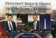 Liberia 2012 Mnh Presidente Barack Obama cumple Vice Presidente Xi Jinping 4v M/s