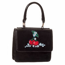 Black Patent Kitsch Rockabilly Cherry Vintage 50s Handbag UK