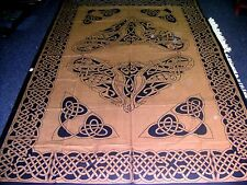 Heavy quality Brown Celtic Knotwork throw 6ft x9ft Bed spread cover Pagan drape