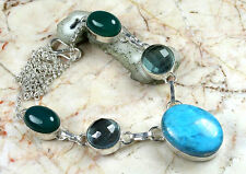 New Beautiful Turquoise-Blue Quartz-Jade? 925 Sterling Silver Overlay Necklace