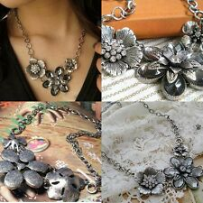 Fashion Women Bib Vintage Crystal Long Chain Pendant Statement Necklace Jewelry