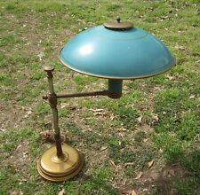 MCM RETRO ATOMIC SWING ARM BRASS TOLE TURQUOISE FLYING SAUCER SHADE LAMP