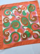 "Vintage Orange Green Pink Brown and White Geometric Print  23"" Acetate Scarf"