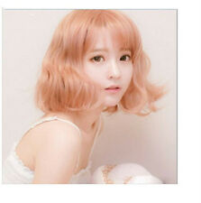 Korea Girl's BoBo Bangs Short Pink Daily Fluffy Natural Hair Pink Wavy Wig+Cap