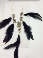 Betsey Johnson Skeletons After Dark  Cameo Crystal  Feather Statement Necklace
