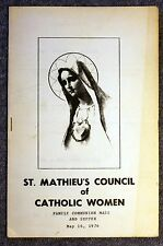 1976 ST MATHIEU'S COUNCIL OF CATHOLIC WOMEN Church COMMUNION MASS Program SUPPER