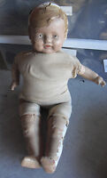 "BIG Vintage 1930s Composition Cloth Baby Boy Character Doll 20"" Tall to Restore"
