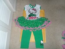 HELLO KITTY SHAMROCK 3T GIRLS OUTFIT 2 PIECE LEGGINGS & TUTU DRESS/SHIRT
