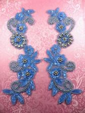 0183 Mirror Pair Appliques Sequin Beaded Pastel Blue Silver 10""