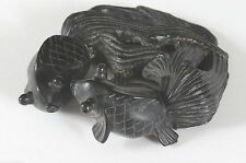 Chinese Two Gold Fish Black Stone Carving