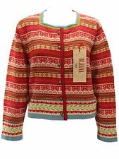 Oleana Cardigan Sweater Large NEW With Tags Red Pink 100% Wool Jacket Nordic Ski