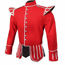 Brand New Military Piper Drummer Doublet Tunic Jacket Black, Red 100% Wool