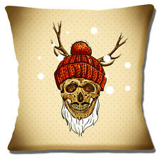 "NEW Retro Day of the Dead Stag Antlers Wool Hat Snow 16"" Pillow Cushion Cover"