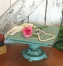 COTTAGE CHIC PEDESTAL BAKE CAKE STAND COUNTRY FRENCH WEDDING SHABBY AQUA BLUE