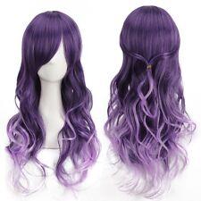 Harajuku Mujer Gradiente Púrpura Rizado Pelucas Largas Onduladas Cosplay Pelo