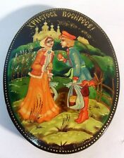 Vintage RUSSIAN Lacquer Trinket Box Easter Christ is Risen Artist Signed Eggs