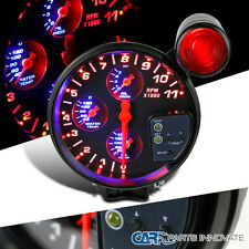 "5"" Tachometer 11K RPM LED 4in1 Oil/Water Temperature/Pressure Gauge+Shift Light"