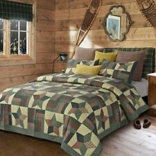 Green Star Primitive Look Quilt Set QUEEN/FULL Size Country Charm Rustic Bedding