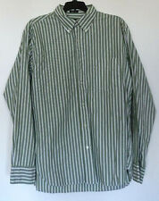J. Crew Green/White Stripe Button-Front L/S 80's 2-Ply Cotton Shirt M