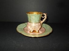 Antique Coalport Beaded Demitasse Cup & Saucer Raised Gold Very Fine England 6