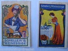 2 Reklamemarken in Farbe Scheller's Weinessig e Künstlerentwürfe in Farbe