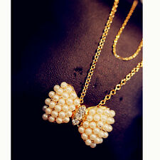 Fashion Charm jewelry bow Pearl Crystal vintage long Pendant Chain Necklace