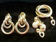 GOLD PLATED BROOCH EARRINGS TRIFARI signed