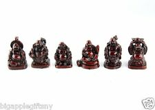 "Set of 6 Mini Red Feng Shui Laughing HAPPY Buddha Figures & Statue Wealth 1"" Tal"