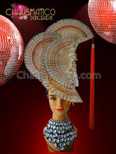 CHARISMATICO Chinese wooden fan headdress with peach appliqué and crystal accent