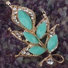 Gold Plated Light Blue leaves Flower Crystal Brooch Pin Gift For Lady jewelry